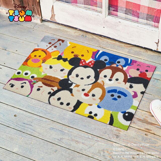 Disney Mat Collection ディズニー 玄関マット Tsum Tsum/ツムツム 50 × 75 cm | 屋外 外 ベージュ 洗える 丸洗い 薄型 おしゃれ かわいい ずれない 滑り止め エントランスマット ドアマット 国産 日本製 クリーンテックス製