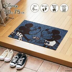 Disney Mat Collection ディズニー 玄関マット Mickey/ミッキー ミニー 50 × 75 cm | 屋外 外 ブルー グレー 洗える 丸洗い 薄型 おしゃれ かわいい ずれない 滑り止め エントランスマット ドアマット 国産 日本製 クリーンテックス Kleen-Tex