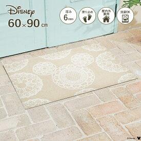 Disney Mat Collection ディズニー 玄関マット Mickey/ミッキー レース ベージュ 60 × 90 cm | 屋外 外 洗える 丸洗い 薄型 おしゃれ かわいい ずれない 滑り止め エントランスマット ドアマット 国産 日本製 クリーンテックス Kleen-Tex
