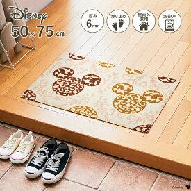 Disney Mat Collection ディズニー 玄関マット Mickey/ミッキー ロココ調 ブラウン 50 × 75 cm   屋外 外 洗える 丸洗い 薄型 おしゃれ かわいい ずれない 滑り止め エントランスマット ドアマット 国産 日本製 クリーンテックス Kleen-Tex