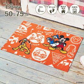 Disney Mat Collection ディズニー 玄関マット Mickey/ミッキーと仲間達 50 × 75 cm| 屋外 外 オレンジ 洗える 丸洗い 薄型 おしゃれ かわいい ずれない 滑り止め エントランスマット ドアマット 国産 日本製 クリーンテックス Kleen-Tex