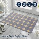 玄関マット 北欧 Circle PatternⅢ 50×80cm|室内屋外兼用 滑り止め 薄型 洗える 日本製 クリーンテックス Klee…