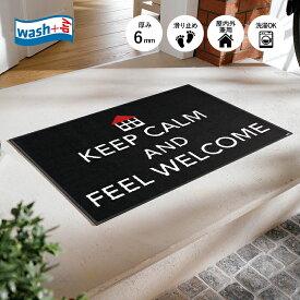 玄関マット wash+dry(ウォッシュ アンド ドライ) Keep Calm 50×75cm ブラック|屋外 室内 おしゃれ 滑り止め 薄型 洗える ウォッシャブル エントランスマット ドアマット クリーンテックス Kleen-Tex