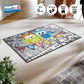 玄関マット wash+dry(ウォッシュ アンド ドライ) Welcome Owls 50×75cm グレー|屋外 室内 おしゃれ 滑り止め 薄型 洗える ウォッシャブル エントランスマット ドアマット クリーンテックス Kleen-Tex