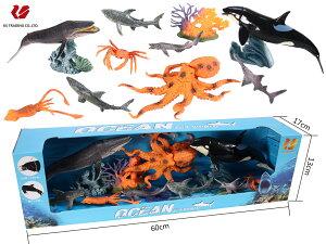 料無料 子供 キッズ ギフト 海洋動物おもちゃ リアルな海洋生物のフィギュア 模型 インテリア 玩具! シャチ 、タコ、シロナガスクジラ・・・9体セット 可動できる海洋動物おも