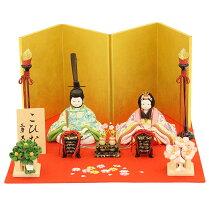 雛人形こひな毛氈金屏風飾りシリーズ古典花模様柄(誉勘商店の正絹・京都西陣織物)木目込み雛人形