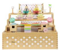 プーカのひなにんぎょうハコ雛人形ミニひな人形3段飾り木製三段5人飾り雛祭ひなまつりお雛様お内裏様