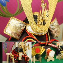 五月人形ケース飾り上杉謙信公いぶし銀コンパクト8号