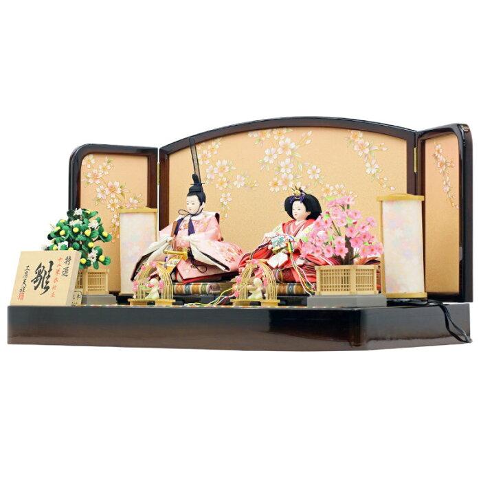 雛人形ひな人形人形工房天祥オリジナル限定親王飾り衣装着ひな人形束帯十二単「親王飾り雛(桜刺繍)さくら台屏風セット」