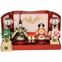 雛人形親王飾り小芥子親王マリさくら刺繍(赤)雛人形コンパクトひな人形お雛様ミニ雛人形おしゃれ