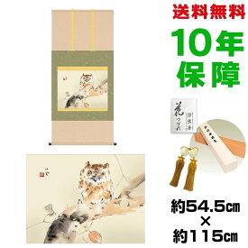 掛け軸 モダン おしゃれ みゝづく 竹内栖鳳 洛彩緞子本表装 幅54.5×高さ約115 新絹本