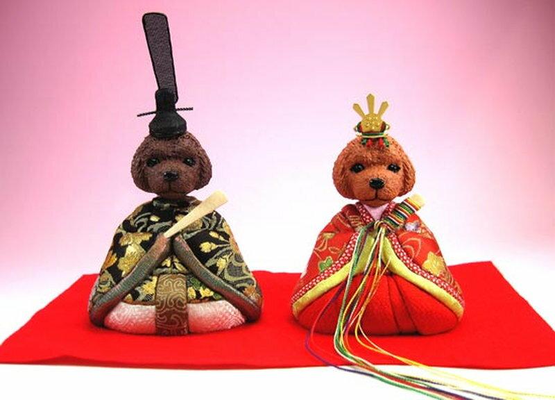 五月人形 兜 兜飾り 5月人形 わんこ雛 プードル(大)犬雛 猫雛 人形広場