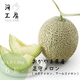 メロン ギフト 足守メロン アールスメロン マスクメロン 岡山県産 6玉入り 1玉 約1.6-1.8kg 糖度14度以上 販売中 農家直送 もぎたて発送 melon