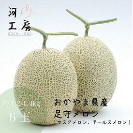 メロン ギフト 足守メロン アールスメロン マスクメロン 岡山県産 6玉入り 1玉 約1.2-1.4kg 糖度14度以上 販売中 農家直送 もぎたて発送 melon