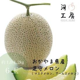 メロン 家庭用 訳あり 足守メロン アールスメロン マスクメロン 岡山県産 6玉入り 1玉 約1.0-1.2kg 糖度14度以上 販売中 農家直送 もぎたて発送 melon