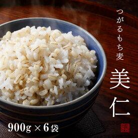 もち麦 国産 900g×6袋 青森産 はねうまもち 送料無料 令和元年産 新麦 つがるもち麦美仁900g×6袋