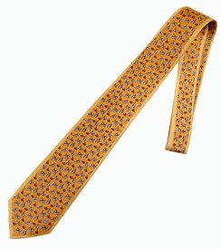 ネクタイ ミラショーン ドッグ モチーフ柄 ブランド代表柄 ブランドロゴ入り オレンジイエロー お洒落 インポートネクタイ