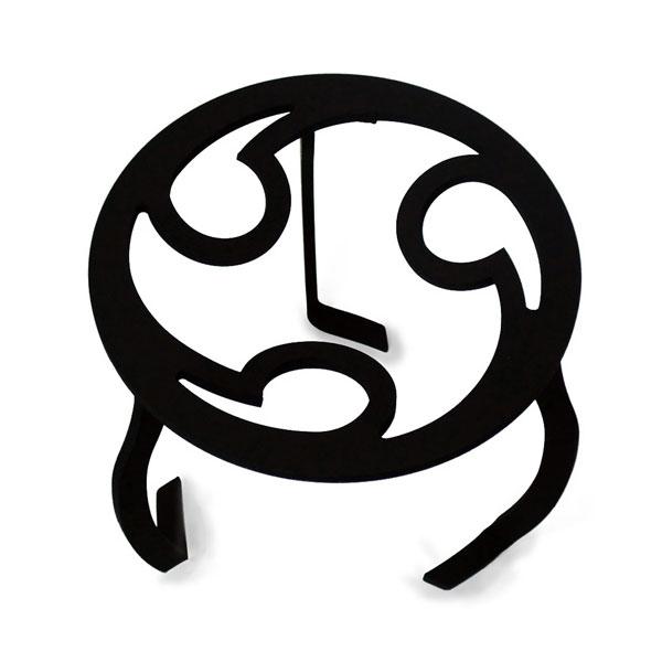三徳 火鉢 囲炉裏 鉄瓶 コンロ 黒 鉄 五徳 ブラック やかん台 鉄製 丸型三徳 三つ巴 TR-01