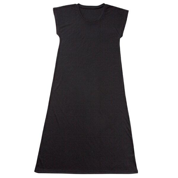 黒 ブラック ロング マキシワンピースフレンチ袖