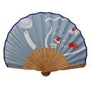 扇子 女性 レディース かわいい 和装小物 京都 うちわ 浴衣 舞扇堂扇子fuwa 扇子 袋 セット 風鈴金魚 ブルー R25201-82