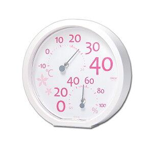 クレセル CRECER 温度計 湿度計 壁掛用 卓上用 コンパクト ピンク 丸い リビング キッチン 書斎 寝室 子供部屋 見やすい 日本製 温湿度計 Sana サナ CR-170P