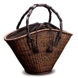 かごバッグ かごバック バスケット 籠 日本製 皮籐 毛利 健一 Kenichi Mouri 【送料無料】籐 ござ目編み扇形バッグ