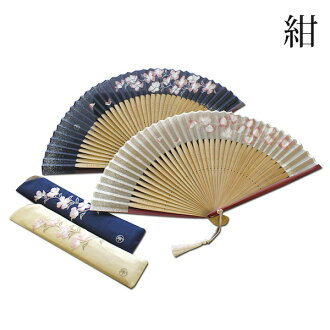 风机的妇女妇女可爱花和服配件和服京都风扇浴衣提出了的工艺品大厅扇子花水木风扇包设置海军蓝色 R40702-42