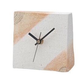 信楽焼 時計 置時計 Clock 四角 正方形 焼物 シンプル 癒し インテリア おしゃれ プレゼント 日本製 置時計 クッキー G5-27-02