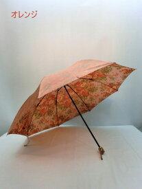 折り畳み傘 二段式 レディース 親骨58cm 軽量 サテン生地 裏面ゴブラン風プリント 二段式折り畳み雨傘