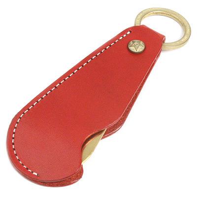 KC,s ケイシイズ 靴ベラ キーリング シューホーン タイプ1 ブォーノアニリン レッド 牛革 KCK009 靴べら 携帯用 おしゃれ キーホルダー KC,s leather craft ケーシーズ 本革 ブランド [即納品][メール便可(200円)][優れものA]