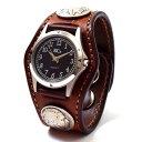 KC,s ケイシイズ 時計 ウォッチブレス スリーコンチョ フリーカット デラックス 牛革 KPR023 腕時計 革ベルト 手彫り …