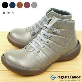 リゲッタ カヌー メンズ ブーツ 靴 ショートブーツ ショート丈 ゴム紐 キルティング 風 あったか ショートブーツ レースアップ 履きやすい 滑りにくい フィールドグリップ シューズ RegettaCanoe 防滑 蓄熱 保温 厚底 日本製 健康