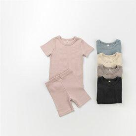 スーパーSALE・SS・リブ・ラウンジウェア・パジャマ・半袖・Tシャツ・パンツ・上下セット・4color・90cm・100cm・110cm・120cm・130cm・キッズ・女の子・男の子・シンプル・無地・韓国子供服・子供時代