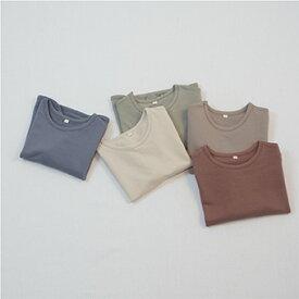 スーパーSALE・コットン・ラウンド・長袖・Tシャツ・5color・90cm・100c・110cm・120cm・130cm・子供時代