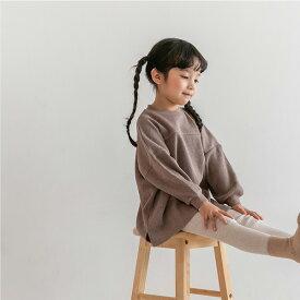 スーパーSALE・ワッフル・ロング・長袖・Tシャツ・オリジナル商品・4color・90cm・100cm・110cm・120cm・130cm・キッズ・女の子・男の子・シンプル・無地・ビッグシルエット・子供時代