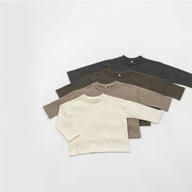 スーパーSALE・ライン・長袖・Tシャツ・オリジナル商品・4color・90cm・100cm・110cm・120cm・130cm・キッズ・女の子・男の子・シンプル・無地・韓国子供服・子供時代
