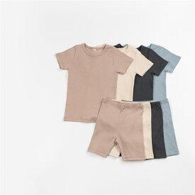 SS・リブ・ラウンジウェア・パジャマ・半袖・Tシャツ・パンツ・上下セット・4color・90cm・100cm・110cm・120cm・130cm・キッズ・女の子・男の子・シンプル・無地・韓国子供服・子供時代