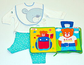 ベビー洋品Tシャツ&パンツセットスタイ布絵本リトルベビーベアの長袖&長パンツ 6M&おしゃれなビブ ベア&dress up bear Bookくまちゃんギフト3点セット選んで!! 無料ギフトラッピング