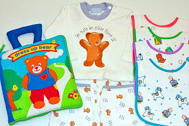 布絵本dress up bear Book英語版&Tシャツ&パンツセットベア長袖&長パンツ12M&おまけ付きベルクロビブ カラフルアニマル柄4枚ベアズキュートギフトセット選んで!!無料ギフトラッピング!!