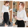 It is mom mother female office worker M L for 30 generations for blouse Lady's short sleeves white blouse shirt ribbon frill four circle shirt white tunic adult Y shirt office commuting suit bell sleeve flare sleeve white shirt short-sleeved shirt tops 2
