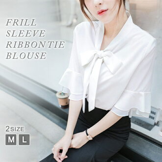 It is mom mother female office worker M L for 30 generations for office suit bell sleeve flare sleeve white shirt short sleeves shirt tops 20 generations in blouse Lady's short sleeves white blouse shirt ribbon Thailand frill four circle shirt white tuni