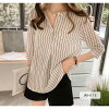 It is a mom mother female office worker for 40 generations for skipper shirt Lady's stripe short sleeves skipper white half-length sleeves blouse shirt shirt blouse white navy pink blue tunic adult office commuting stripe shirt tops 30 generations in the