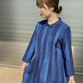 【久留米絣ワンピース】ミセス40代50代60代70代レディース綿100%ロング日本製タック縞ストライプ綺麗シルエットエレガント