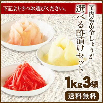 【送料無料】国産生姜使用 選べる酢漬けセット1Kg×3 【甘酢しょうが/がり/紅しょうが千切】