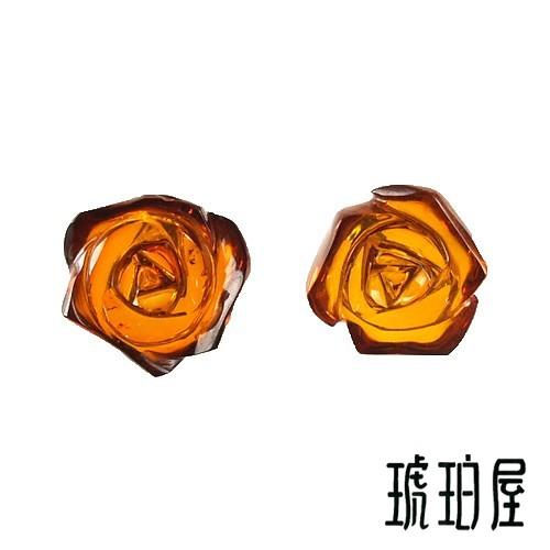 【お支払い0円で、ご試着!】琥珀 ピアス イヤリング 薔薇 15mm チェリーレッドアンバー 赤 K18