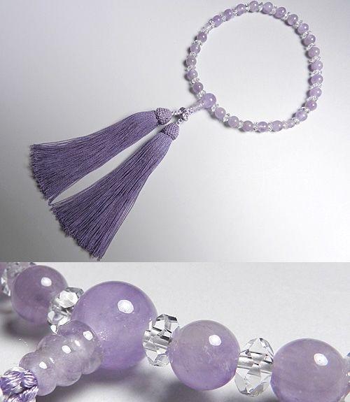 女性用のお数珠 藤雲石7mm 水晶切子仕立て