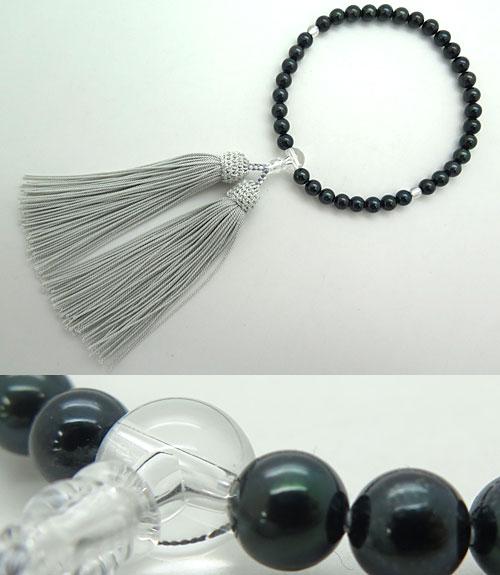 数珠 女性用 黒真珠 7mm玉 水晶仕立て 限定品 特別価格