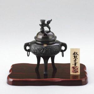 高岡銅器 カン付鳳凰香炉 菊紋・台・木札付