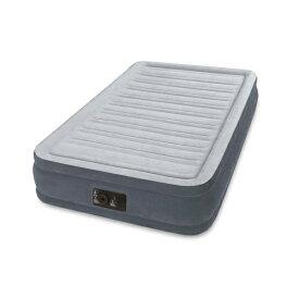 INTEX(インテックス)エアーベッド ツインコンフォート シングルサイズ 電動エアーポンプ付き グレー67765 (日本正規品)99×191×33cm