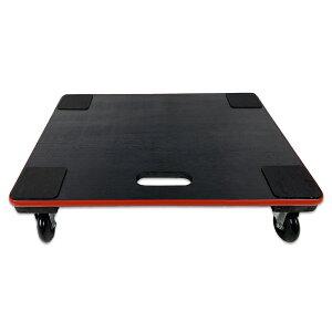 ≪あす楽対応≫コーナン オリジナル 木製平台車 静音タイプ 約60×45cm ブラック&レッド